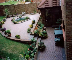 Block paving path and patio